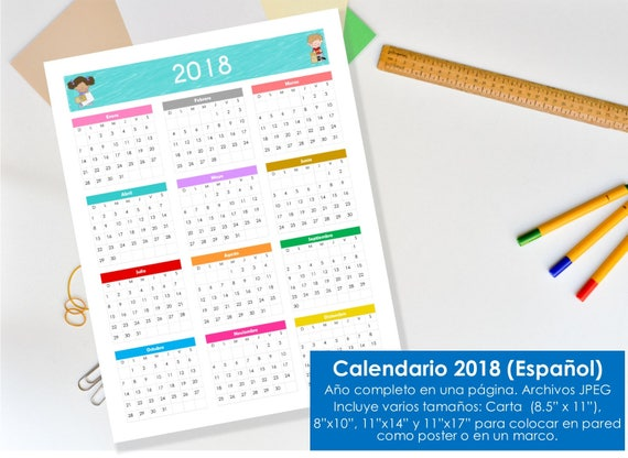 Calendario 2018 para imprimir. Tamaños: carta 8.5 x