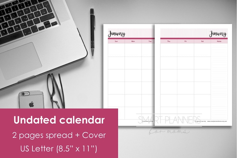 Printable Undated Calendar, 2 Pages spread  US Letter Size (8 5
