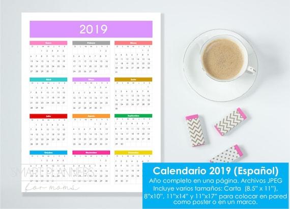 Calendario 2019 Para Imprimir Tamanos Carta Etsy