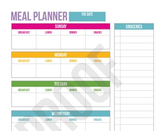 Weekly Meal Planner - Planner Pages - Pick Your Pages - Combine to Customize Your Dream Planner - Printable PDF Instant Download -