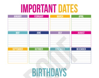 Important Dates and Birthdays - Planner Pages - Pick Your Pages - Combine to Customize Your Dream Planner - Printable PDF Instant Download -