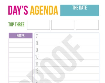 Daily Agenda - Planner Pages - Pick Your Pages - Combine to Customize Your Dream Planner - Printable PDF Instant Download