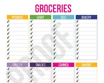 Organized Grocery List - Planner Pages - Pick Your Pages - Combine to Customize Your Dream Planner - Printable PDF Instant Download -