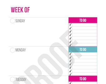 Weekly Planner on Two Pages - Planner Pages - Pick Your Pages - Combine to Customize Your Dream Planner - Printable PDF Instant Download