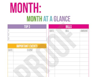 Month at a Glance - Planner Pages - Pick Your Pages - Combine to Customize Your Dream Planner - Printable PDF Instant Download