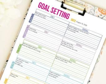 Categorized Goal Setting Worksheet- Letter size - Editable PDF- Digital Download