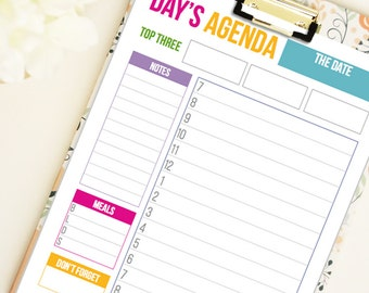 Daily Agenda Daily Planner- editable PDF- digital download