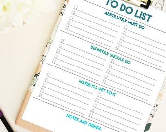 To do list- editable PDF- letter size- digital download