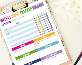 Weekly Habit Tracker- Letter size - Editable PDF- Digital Download