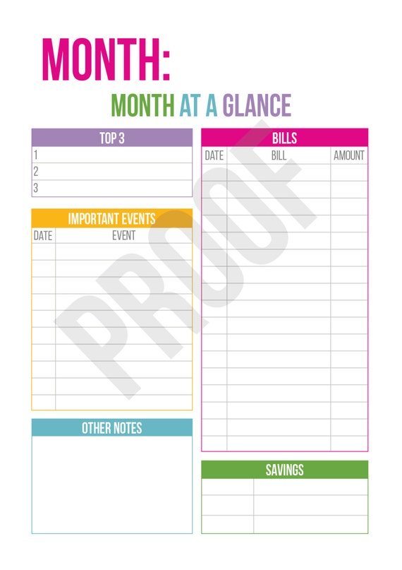 month at a glance planner pages pick your pages combine etsy