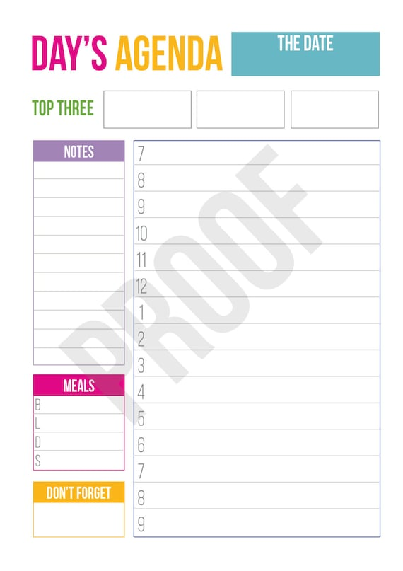 Daily Agenda Planner Pages Pick Your Pages Combine To Etsy