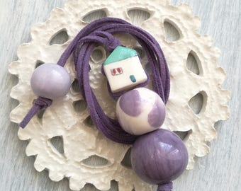 Purple ceramic necklace with pearl cottage-pendant with ceramic pearls-miniature house-Ceramic jewelry-Cottage ceramics
