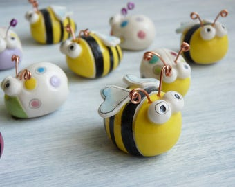 Ladybirds and ceramic bees-birth gift-baptismal favors-modern ceramic favors-miniatures-decor house-child and girl