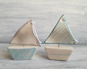 Boat Favor baby-ceramic sailboat-Wedding favors-miniatures-decor home-ceramic favors-handmade