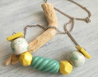 Ceramic Necklace-Gifts for her-ceramic beads-white-water-green-yellow-ceramic handmade-ceramic jewellery