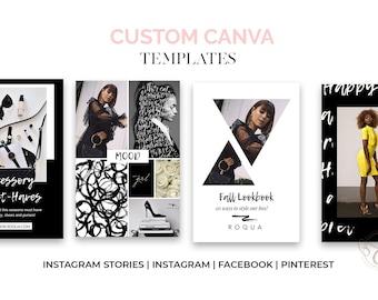 50 Custom Canva Social Media Posts for Instagram, Facebook, Twitter, and Pinterest, Social Media Pack