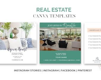 Real Estate Templates | Canva Social Media Templates for Real Estate | Instagram Stories | Pinterest | Facebook