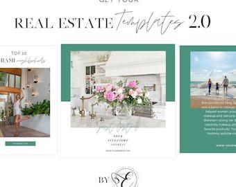 Real Estate Templates | Canva Social Media Templates for Real Estate 2.0 | Instagram Stories | Pinterest | Facebook | Lead Magnets