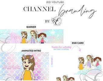 Kid YouTube Intro, End Slate, Banner, Watermark, YouTube Channel Art