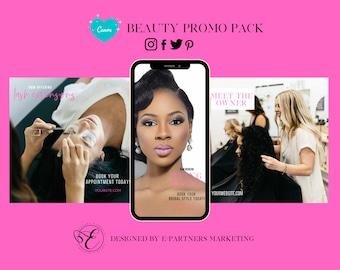 Hair Salon Social Media Posts, Instagram Posts, Instagram Stories, Facebook Covers, Canva Templates