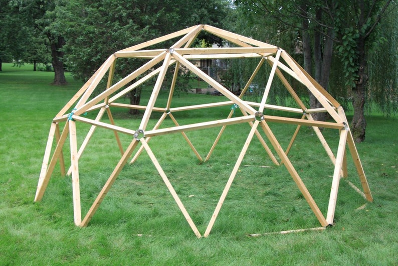 2V Geodesic Dome Hub Brackets - DIY Metal Connectors for Timber Struts, MFG  by Thunder Domes