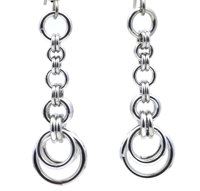 Lightweight Aluminum Chainmaille Crescent Earrings