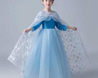 Elsa Dress Costume Disney Princess Inspired Frozen Elsa Costume For Girls  Toddler(cape Included )