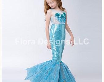 77ae32b597e5 Deluxe Mermaid dress Mermaid costume mermaid tail for girls toddler mermaid  dress(walkable)