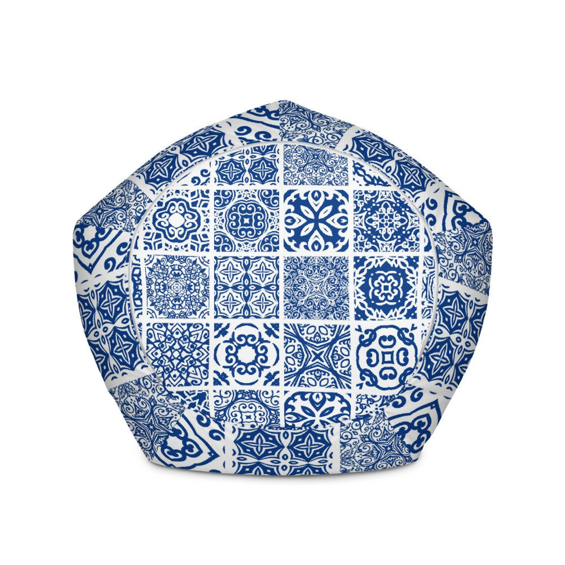 Spanish Tile Bean Bag Chair w/ filling | Old World | Tuscan Interior | Mediterranean Style | Blue and White | Home Accents | Seating | Hygge