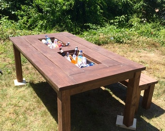 Patio Cooler Table Etsy