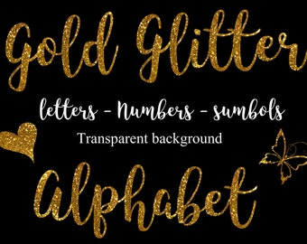 Gold glitter alphabet letters Numbers Gold alphabet clipart Digital glitter alphabet Gold font Gold overlays Gold glitter Font clipart PNG