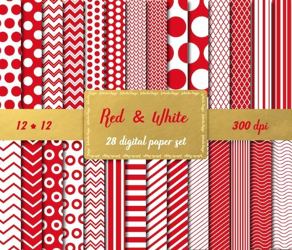 Red White Chevron Paper Polka Dot Digital Lined Scrapbook Etsy