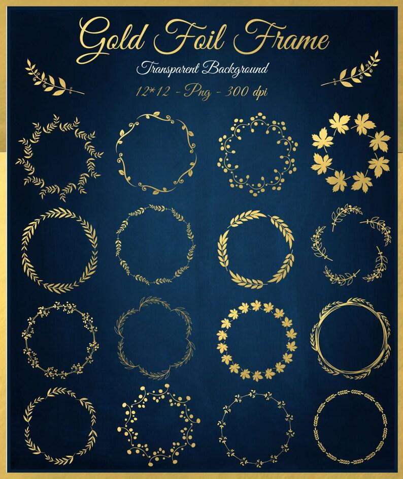 a32e16f6a7b0 Gold foil digital Floral frames Clipart Circle Gold frames