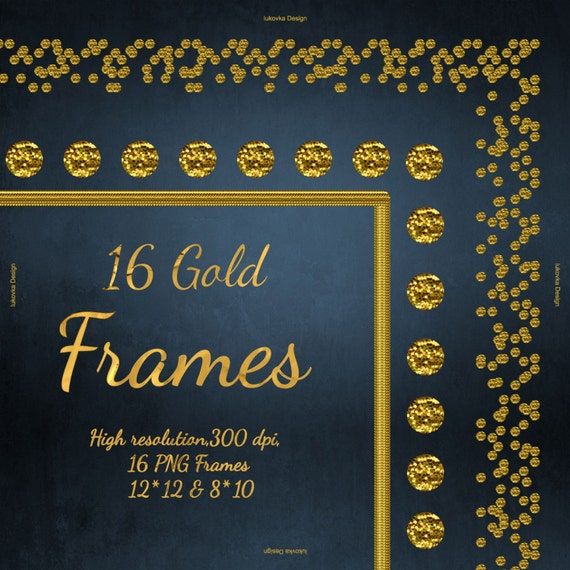 Goldener Rahmen Glitter Cliparts Digital Gold Rahmen Golden Etsy