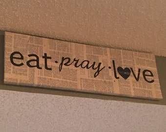Eat pray love canvas on book pages
