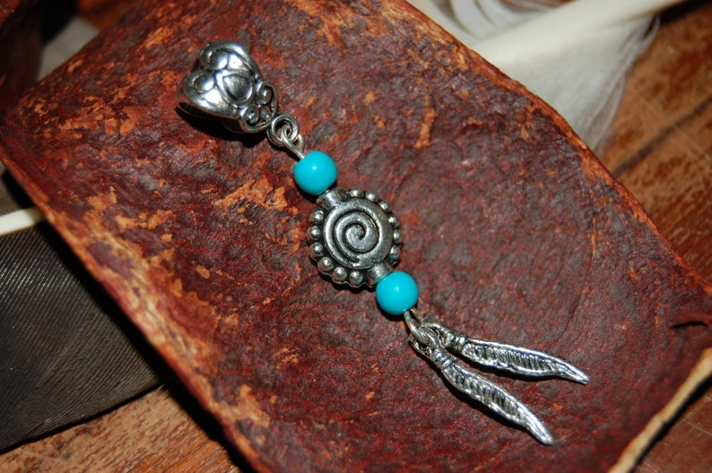 Dread bead - dreadlocks jewelry - dreads - hair jewelry - feather jewelry -  dreadbead feather - ethno dreads bead
