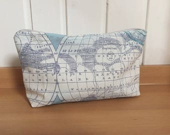 Cosmetic Bag World map