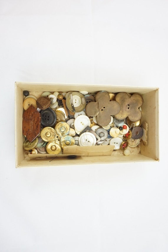 Vintage Collection Buttons and Buckles in Mavrakos Candies Box