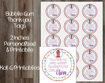Bubble Gum Thank You Tags, 2 Inch Circle Tags, Rainbow Polka Pot Personalized and Printable Digital File