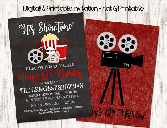 It S Showtime Movie Themed Birthday Party Invitation Etsy