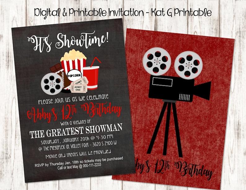 Its Showtime Movie Themed Birthday Party Invitation