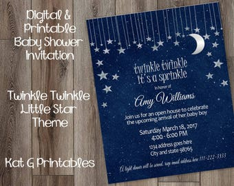 Twinkle Twinkle Little Star Baby Sprinkle or Shower Invitation, Star and Moon Themed Personalized Printable Digital Invitation