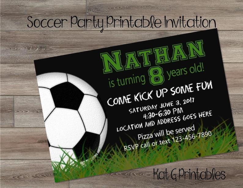 Soccer Party Birthday Invitation Boy Or Girl Personalized Printable Digital Invitation