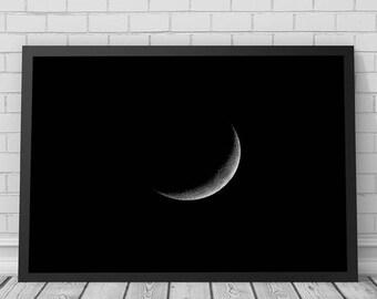 Moon Wall Art Print, Black and White Print, Printable Digital Download, Modern Minimalist Art, Photography, Abstract, Moon