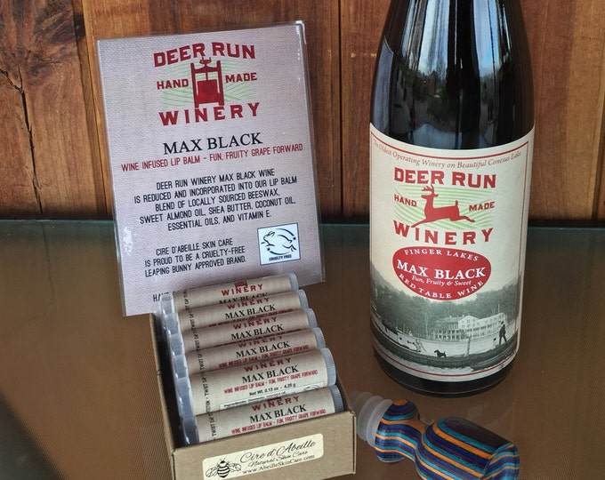 Deer Run Winery Max Black wine infused lip balm by Cire d'Abeille™ - Gluten Free