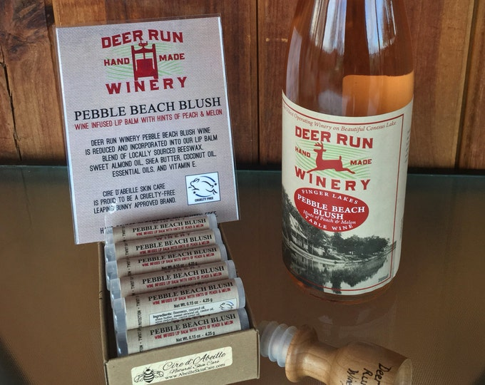 Deer Run Winery Pebble Beach Blush wine infused lip balm by Cire d'Abeille® - Gluten Free