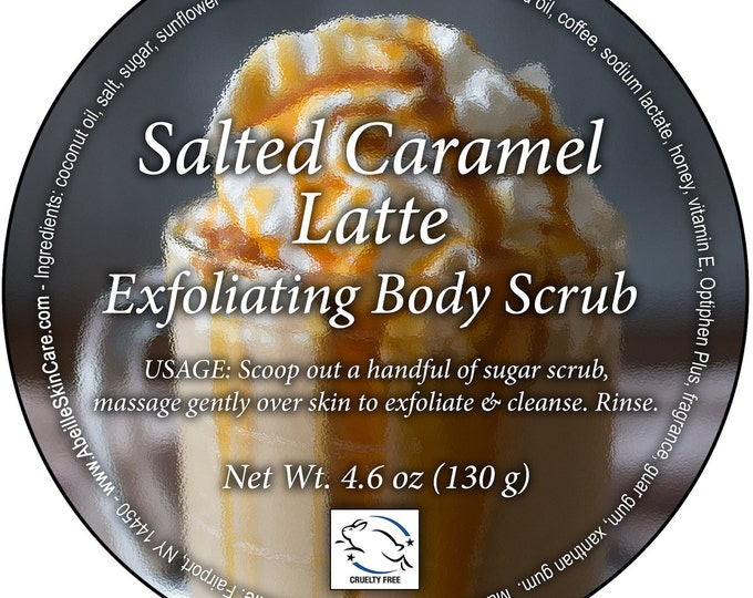 Salted Caramel Latte coffee infused Exfoliating Body Scrub by Cire d'Abeille®