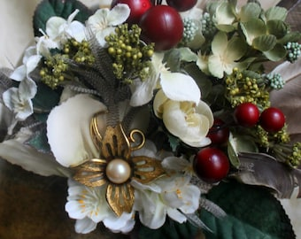 Yule Flowers & Berries with Vintage Jewelry Accent Handmade UpCycled Feathered Hair Decoration- Winter Holiday, Burlesque, Fairy, Bellydance