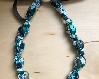 Fabric Statement Necklace (Teething/Nursing Small bead Necklace) Green Gold Floral