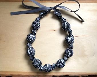 Fabric Statement Necklace (Teething/Nursing Necklace) Black Boho (black, white, grey)